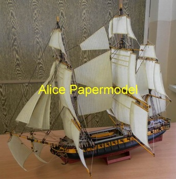 [Alice papermodel] Long 1meter 18th century  Empire France navy ancient Galleon Sailing sailboat warships yacht junk models