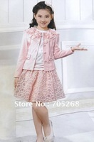 Wholesale girls set,coat+shirt+skirt set,big girl 3 pcs sets.6-15 years girls clothing,free shipping