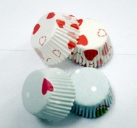 free shipping 1000pcs hot red heart with white color type cupcake liners baking paper cup muffin cases for party
