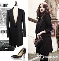 Free shipping 2011 new arrival fashion ladies'women's  Brand suit  ,long suit black ,80cm women's outwear long coat
