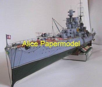 [Alice papermodel] Long 1.2 meter 1:200 WWII battleship Italy Pola destoryer heavy cruiser Frigate models