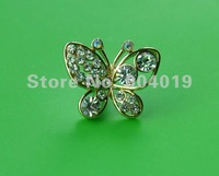 3.5mm Earphone Dust Ear Cap Plug Dust Cover Rhinestone Butterfly B-1