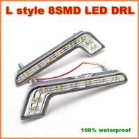 Wholesale super bright  L Shape  8 LED Daytime Running Light  5050SMD DRL Universal  white E4 LED car Fog lights(01010165)