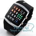 Fashion Black 3 Color LED Digital Lady Men Sports Watch Wristwatches LED Watches Xmas Gift Free Ship