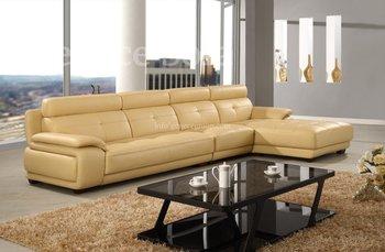 Modern Corner Sofa, Beige Leather Sofa, Top Grain Cow Leather Furniture