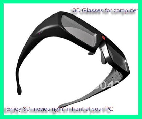 Wholesale!3D Active Shutter Glasses for Computers&PCs/NVIDIA Laptops+High Class 3D Glasses 5pcs/lot Free Shipping(China (Mainland))