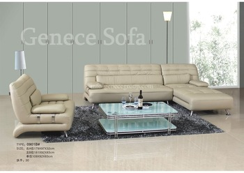 Competitve Price Leather Sectional Sofa, Metal Frame, Discount Sofa