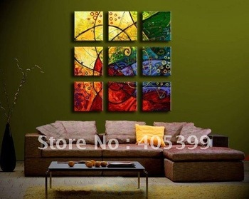Free Shipping !! 9PCS Oversized Real Handmade Modern Abstract Oil Painting On Canvas Wall Art  ,Love Art   ytth076