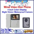 Free shipping! Wired Video Door Bell with 4&#39;&#39; Color Display+Night Vision Camera, with monitor function and unlock control