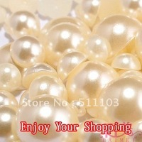 Free Shipping 2000pcs/lot 8mm Half Balls Round Flatback beige white ABS Imitational Pearls Garment Accessories Decoration