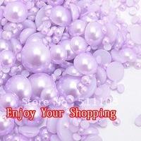 10000pcs/lot free shipping  light purple 3mm imitation pearls half round flatback pearls