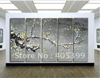 Free shipping ,5PCS  Modern Abstract Oil Painting on Canvas ,Chinese Flower Oil Painting JYJLV207