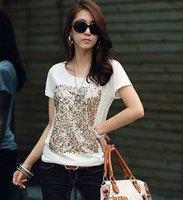 Free shipping wholesale/Retail Fashion Hot Women's Leisure slim Short Sleeve Tops elegant TShirts Sequin O-neck Casual t-shirt