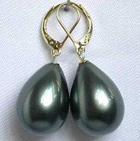 Stunning!12x16mm Black Sea Shell Pearl Earring