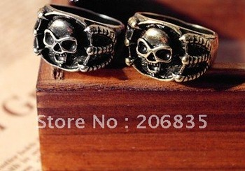 New Wholesale Lots 30pcs Vintage Jewelry Fashion Skull Head Gothic Clow Rings Free Shipping (Min.Order Is $10+Gift,Mix Order)