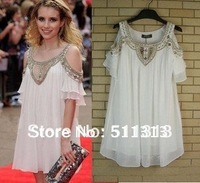 FREE SHIPPING pure manual beads elegant white chiffon dresses