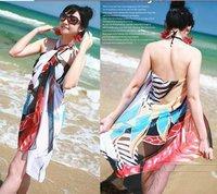 Chiffon Sarong Women's Chiffon Swim Wear Beach scarves Bikinis Colorful random Mix order 10pcs / lot
