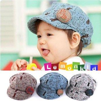 New Baby Cotton Visor fashion Hat Boys Girls Printed Peak Cap Kids Short Brim Sun Hat free shipping