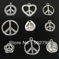lot 54pcs Tibetan silver Peace Sign DANGLE Charms Bead TS8007
