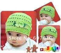 Wholesale handmade cute flower baby knit hat,infant grid hat Wave pattern style crochet cap 10pcs/lot Mix