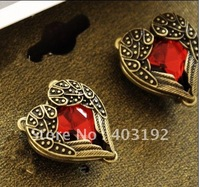 6pcs Steampunk Vintage Red Heart Court Carved Sweater Angel wing Guard Stud Earrings