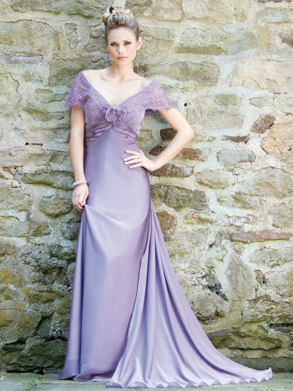 2011 free shipping A-line lilac chiffon extra trail mother of the bride dresses(China (Mainland))