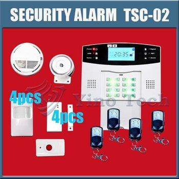 NEW free shipping 106 zones Door window security GSM home alarm system wireless Burglar alarm Auto Dialing Dialer TSC-02