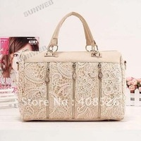 Free shipping women's Designer PU Leather Handbag 2014 HOTSALE!! Lace Bags wholesale 3890
