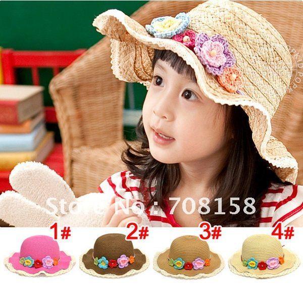 lace children sunbonnet straw hat / Sun Hats (4 color) size:52cm(3-6T