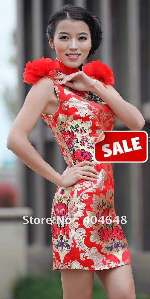 Dress red modified fashion short chinese dress evening clothes0801