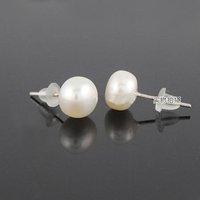 YP002 Pearl series Popular South Korea natural freshwatermedium  ear nails earrings Mixed colors Free shipping