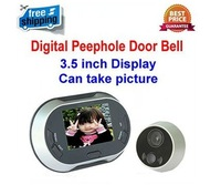 Freeshipping! 3.5 inch LCD Display Digital Video Peephole Door Bell / Door Viewer,0.3MP Night Vision Camera,Can take picture