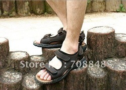 New style slippers,man slippers,sandals,brand slippers,men shoes,free shipping *Genuine Leather sandal Men&#39;s 100% size:40-44(China (Mainland))