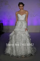 2012 Gorgeous Layered Organza Wedding Dresses LZ3055 Sweetheart Beaded Ruffle Chapel Train