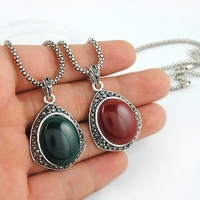 FN10192 Jewelry Factory Wholesale Agate Pendant Alloy Necklace Mixed Colors Hot sells Free shipping