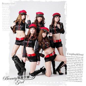 4pcs/lot hot popularnew black female police uniforms  temptation dance garments evening performance,baby girl bar celebration