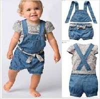 Free shipping  new 5 set /lot girl's boys'  2 pcs set jeans pants+t shirt baby set ,baby fashion clothes suit