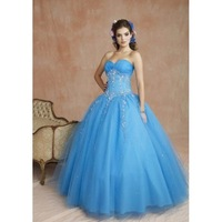 New Arrival ! Free Shipping!Sweet Neckline Empire Beaded Appliques Ball Gown Prom Dress