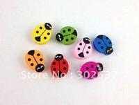 60PCS Mixed colours wooden ladybug Beads #20770