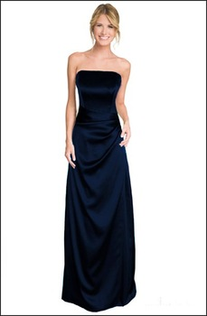 Strapless full length navy evening bridesmaid prom dress