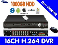 16CH H.264 CCTV Standalone embedded DVR Video Recorder with 1TB hdd  HT-7016HV