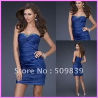 2012 Free shipping Hot sale Sheath Royal Blue Strapless Sweetheart Twist Drape Beaded Mini Sexy Prom Cocktail Party Dresses
