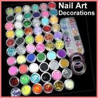 Mix Nail Art Glitter Powder Dust Rhinestone Decoration + 2 Rolls Striping Tape #722  HB-NailArt01-722set