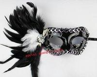 Free Shipping Hallowmas Venetian Masquerade Masks Silver Imitates Steel Nail Feather Mask Dance Party Mask 20 pcs