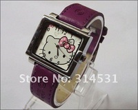 Free shipping  5 colors fashion hello kitty women's ladies rectangle dial leather wrist watches 50pcs/lot