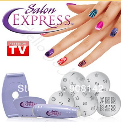 Free shipping 120pcs/lots Salon Express/Nail Art Stamp Stamping Kit Manicure Design Polish As Seen On TV(China (Mainland))