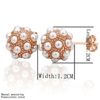 18KGP E014, 18K Gold Plated Ball Earrings, Vogue Jewelry Nickel Free Plating Platinum Rhinestone Rose Gold