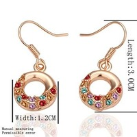 18KGP E021 18K Gold Plated Drop Earrings, Vogue Jewelry Nickel Free Plating Gold Rhinestone Factory Price Free Shipping