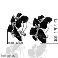 18KGP E017 18K Gold Plated Black Rose Earrings, Plating Platinum Health Jewelry Nickel Free Rhinestone Factory Price