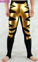 Gold Shiny Metallic Black Lycra Zentai Pants Costume